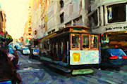 Architecture Digital Art - Cablecar On Post Street In San Francisco by Wingsdomain Art and Photography
