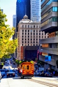Highrise Building Prints - Cablecar on San Francisco California Street  . 7D7176 Print by Wingsdomain Art and Photography