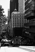 Highrise Building Prints - Cablecar on San Francisco California Street . bw . 7D7176 Print by Wingsdomain Art and Photography