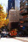 High-rise Prints - Cablecar on San Francisco California Street  . Painterly . 7D7176 Print by Wingsdomain Art and Photography