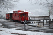 Caboose Framed Prints - Caboose in Snow Framed Print by Eric Armstrong