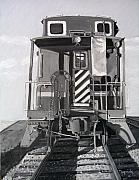 Transportation Paintings - Caboose by Mary Capriole