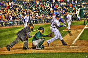 Comerica Framed Prints - Cabrera Grand Slam Framed Print by Nicholas  Grunas