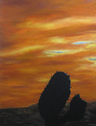 Southwest Landscape Paintings - Cacti in Silhouette by Roseann Gilmore