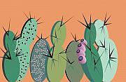 Ted Clifton Art - Cacti Party by Ted Clifton
