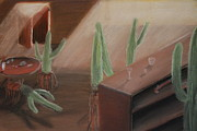 Surrealism Pastels - Cactus Bar by Alec  Pydde
