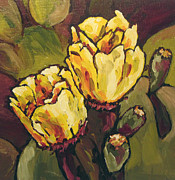 Cactus Paintings - Cactus Blooms by Sandy Tracey