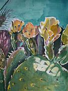 Desert Painting Originals - Cactus Blossoms in Desert by Aleksandra Buha