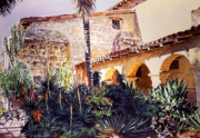 Santa Barbara Paintings - Cactus Courtyard Mission Santa Barbara by David Lloyd Glover