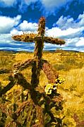 Southwest Digital Art - Cactus Cross by Lou  Novick