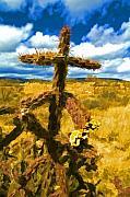 Cactus Cross Print by Lou  Novick