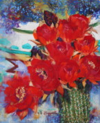 University Of Arizona Pastels - Cactus Flower III by M Diane Bonaparte
