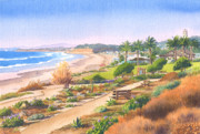 California Coast Paintings - Cactus Garden at Powerhouse Beach by Mary Helmreich