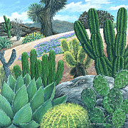 Sand Dunes Paintings - Cactus Garden by Snake Jagger