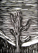 Black And White Print Reliefs - Cactus by Marita McVeigh