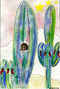 Holiday Cacti Posters - Cactus Owl Christmas Poster by Christy Woodland