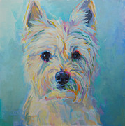 Pet Portrait Paintings - Caddie by Kimberly Santini