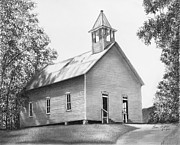 Tennessee Drawings - Cades Cove Methodist Church by Lena Auxier