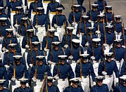Ceremonies Prints - Cadets March In Formation Print by Everett