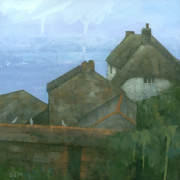 Fishing Village Painting Posters - Cadgwith Rooftops Poster by Steve Mitchell