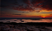 Mountain Photographs Posters - Cadillac Mountain sunrise Poster by Chad Tracy
