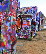 Installation Art Framed Prints - Cadillac Ranch Framed Print by Angela Wright