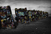 Route66 Prints - Cadillac Ranch Print by Claude Gariepy