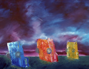 Clouds Sunset Painting Prints - Cadillac Ranch Print by Jera Sky