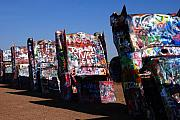 Landmarks Acrylic Prints - Cadillac Ranch on Route 66 Acrylic Print by Susanne Van Hulst