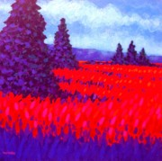 Wine Glasses Paintings - Cadmium Field by John  Nolan