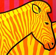 Animal Contemporary Art Art - Cadmium Zebra by John  Nolan