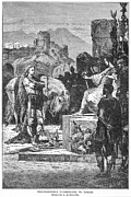 Gaul Prints - Caesar And Vercingetorix Print by Granger