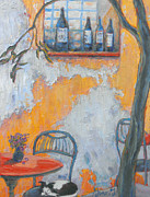 Italian Landscapes Posters - Cafe After Hours Poster by Gina Grundemann