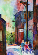 Alleyway Paintings - Cafe Alley by William Tockes