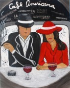 Merlot Prints - Cafe Americana - LA  Print by Victoria  Johns