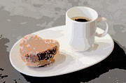 Heart Shaped Mixed Media - Cafe Americano and Heart Shaped Doughnut by Ari Salmela