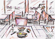 Rain Drawings - Cafe at Bercy - Paris by Hiroki Uchida