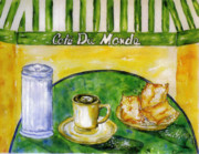 Donuts Painting Posters - Cafe au Lait and beignets with sugar Poster by Catherine Wilson