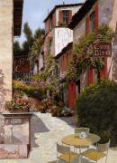 Red Prints - Cafe Bifo Print by Guido Borelli