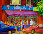 Montreal Cityscenes Painting Originals - Cafe Bilboquet Ice Cream Delight by Carole Spandau