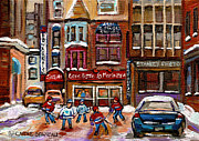 Hockey In Montreal Paintings - Cafe Bistro La Marinara by Carole Spandau