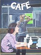 Coffee Drinking Painting Posters - Cafe Poster by Brenden Howard