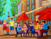 Montreal Neighborhoods Paintings - Cafe Casa Grecque Prince Arthur by Carole Spandau