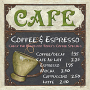 Featured Tapestries Textiles Prints - Cafe Chalkboard Print by Debbie DeWitt