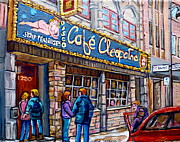 French Cities Paintings - Cafe Cleopatra Montreal by Carole Spandau