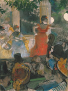 Red Pastels Framed Prints - Cafe Concert at Les Ambassadeurs Framed Print by Edgar Degas