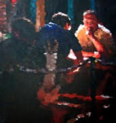 Outdoor Cafe Paintings - Cafe Conversation by Don  Reed