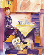 Brown Boots Painting Originals - Cafe Customers by Nancy Brennand