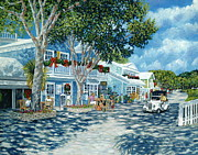 Fishing Village Painting Posters - Cafe des Artistes Poster by Danielle  Perry
