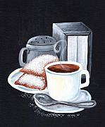 Cafe Du Monde On Black Print by Elaine Hodges